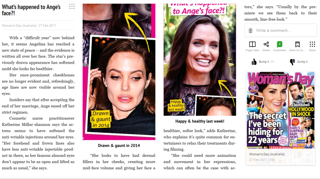 what's happened to Angelina's Face